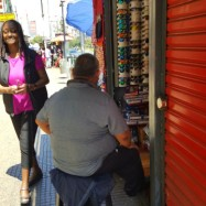 One of many street vendors lining the streets selling their wares.