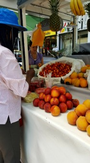 Lots of street vendors selling fried foods, meat on sticks, and every once in awhile delicious fresh fruit!